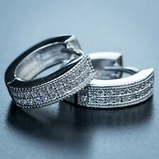 Men's Small Diamond White Gold Sterling Silver Iced Hoop Huggie Clip On Earrings