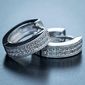 Men's Small Diamond White Gold Sterling Silver Iced Hoop Huggie Clip On Earrings