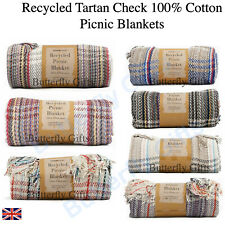 Luxury Large Recycled Check Tartan Blankets Throw Warm Winter Heavy Blankets