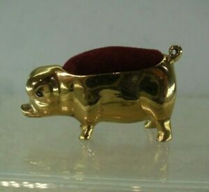 Vintage Yellow/ Gilt Metal Pig Pin Cushion