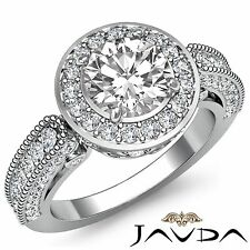 Halo Pave Round Diamond Exquisite Engagement Ring GIA G VS2 18k White Gold 2.5ct