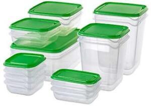 17Pcs Plastic FOOD CONTAINER Sets Fridge Freezer Storage Tubs & Lids Green