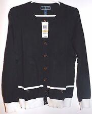 Karen Scott Woman Sweater Cardigan Black White Color Small Size Long Sleeve