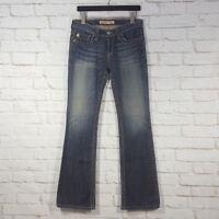 Big Star Womens 28 L Remy Low Rise Boot Cut Distressed Jeans Denim Flap Pockets