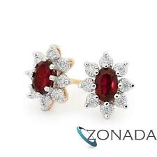 Cluster Ruby Diamond 9ct 9k Solid Yellow Gold Earrings 52902/CR
