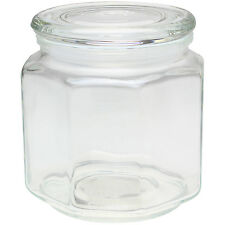 2 Litre Hexagonal Clear Glass Canister Jar Storage Container with Airtight Lid