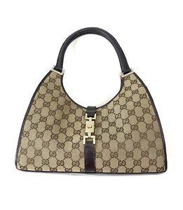 Gucci Canvas Leather GG Logo Shoulder Bag Vintage 90s