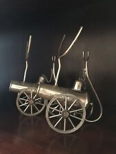 Pair Of Antique Silver Plated Cannon Brandy Warmers