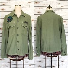 ZARA ZW Overshirt Military Army Green Patch Button Down Long Sleeve Sz M Medium
