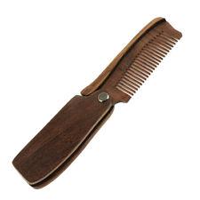Sandalwood Folding Travel Hair Moustache Beard Comb Pocket for Men Brown