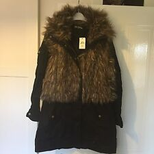 Gorgeous Black River Island, Miss Springfield Parka Fake Fur Jacket Coat Size 12