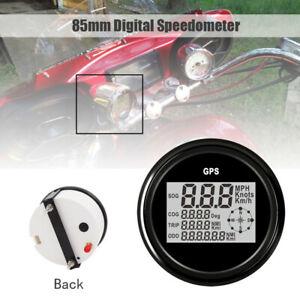85mm GPS Speedometer Digital Gauge Odometer 0-999 km/h mph 9-32V Red Backlight