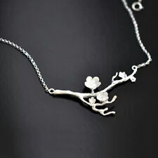 925 Silver Branch Cherry Blossoms Pendant Charm Necklace Women Wedding Jewelry
