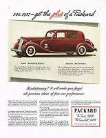 1936 BIG Vintage Packard 1937 Model Classic Car Automobile Art Print Ad
