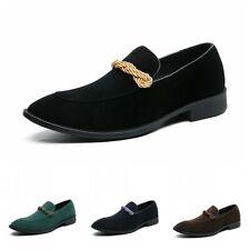 Oxford Hombres Imitación Gamuza Slip On Puntera en Punta de boda novio Zapatos Negocios Formal L