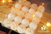 20 WHITE COTTON BALL RATTAN STRING LIGHTS PARTY PATIO FAIRY WEDDING VALENTINE