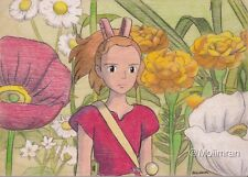 Original Drawing of Arrietty from Anime 'The Secret World of Arrietty' on Wood