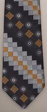 Vintage Van Gogh Bertoni Geometric Black Gold Silver Thick Texture 1970 Neck Tie