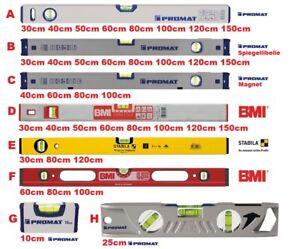 Auswahl Wasserwaagen BMI PROMAT STABILA - Magnet,Spiegellibelle,Torpedo,ROBUST