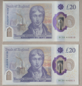 BANK OF ENGLAND NEW POLYMER £20 UNCIRCULATED  [ BC 34  ] FREEPOST RECORDED