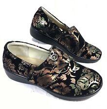 EUC Alegria Lauryn Floral Black Suede leather Clogs Sz 40 US 9 Wide