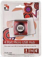 Trust 16129 4 puertos USB 2.0 HUB, Micro Rojo Con Desmontable 1.2M Cable de conexión