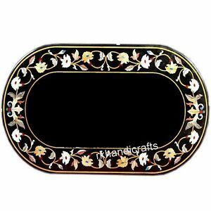 Oval Marble Coffee Table Top with Hand Inlay Work Center Table 24 x 36 Inches