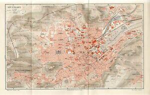 1895 GERMANY STUTTGART CITY PLAN Antique FOLIO Map