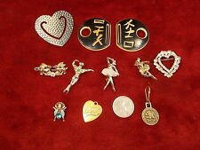 #21, LOT OF 13 OLD VTG COSTUME BROOCHES, INCL 2 BALLET, BUG, RABBITS, MOTHERS+++