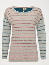 Cotton Blend Waist Length Striped None Women's Jumpers & Cardigans