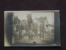 TWO LARGE DRAFT HORSES IN FULL TACK / HARNESS VTG REAL PHOTO POSTCARD