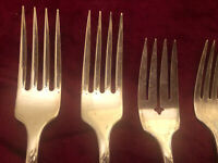 Lot Of (5) Oneida Community Flatware. 4 Forks Butter QUEEN Bess II SilverPlate