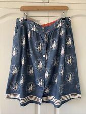 "SEASALT ""Folklore"" Chambray Skirt Nautical Sailing Boat Print Sz 16 BNWOT"
