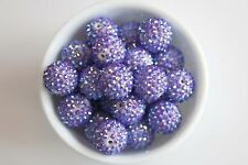 Purple Rhinestone 20mm Chunky Beads 10 ct for Bubblegum Gum Ball Necklace