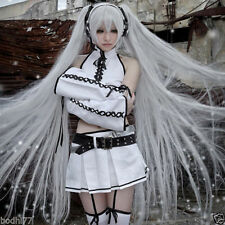 Vocaloid Hatsune Silver Black Rock Shooter Miku Cosplay Costume + WIG @@@024