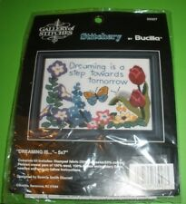 """New listing Flowers Butterfly Bucilla Gallery Of Stitches, Dreaming Is 33027 5"""" x 7"""""""