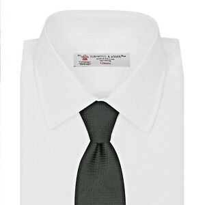 "$225 NWT TURNBULL & ASSER Black solid Panel check men's 3.75"" woven silk tie UK"