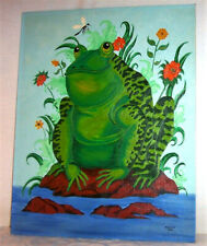 1977 Large Original Signed Painting BIG HAPPY FROG Dragonfly Flowers Pond