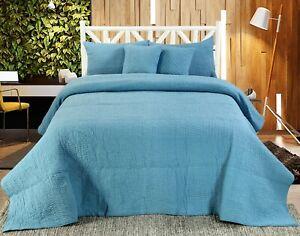 Handmade Cotton Quilted Bedspread Set Quilt Bed Set Harvard Blue