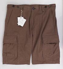 New. BRUNELLO CUCINELLI Brown Cotton Blend Cargo Shorts Size M  $765