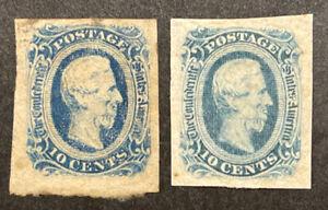 TDStamps: US Confederate States CSA Stamps Scott#12 (2) Mint H OG Lightly Crease