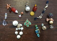 Vintage Old Meet New Mixed Glass Metals Amber Crystal Plus Large Bead Dangle Lot