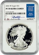 2006 American Silver Eagles W PF 70 Ultra Cameo signed by Rhett Jeppson
