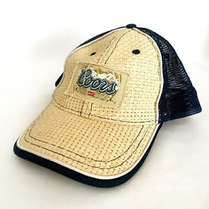 Coors Light Patch Straw Tan and Black Mesh Back Snapback Cap Hat