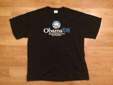 2008 BARACK OBAMA FOR PRESIDENT T SHIRT MENS LARGE NAVY BLUE WHITE RED 08 VOTE