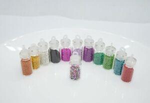Nail Art, Nagelschmuck,  Kaviar Miniperlen 12 Flaschen Perlen Epoxidharz basteln