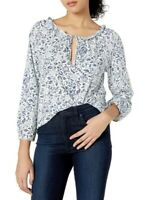 Lucky Brand Floral Split Neck Blouse with Tie Long Sleeves Blue White Size S NwT