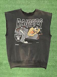 Vintage 90's Taz Looney Tunes LA Raiders NFL Graphic Shirt Size M/L Distressed