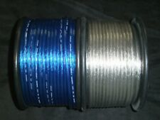 8 GAUGE SPEAKER WIRE 50 FT SILVER BLUE CABLE AWG STEREO CAR HOME MONSTER SUBS