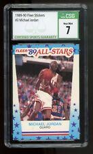 1989-90 Fleer Stickers - Michael Jordan #3 - Graded CSG 7 Near Mint - NBA BULLS